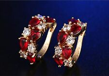 2 ct Created Ruby Hoop Earrings in Gold-Plated Brass