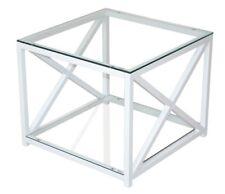 Beistelltisch Glastisch Couchtisch Metalltisch Sofatisch Metall/Glas Farbe: Weiß