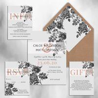 WEDDING INVITATIONS Personalised Luxury Grey & Rose gold print packs of 10