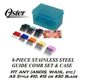 OSTER 8 pc STAINLESS STEEL GUIDE Attachment Blade COMB SET*Fit A5,A6,AGC Clipper