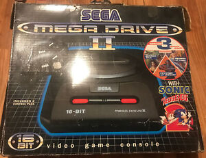 Sega Megadrive Mega Drive 2 Console With Box, Sonic Hedgehog 2, 2 Controllers