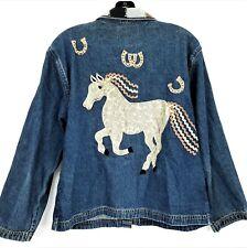 Vtg Dont Mess With Texas Denim Jean Jacket Sz M L Horses Western Beaded Collar