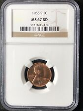 1955-S 1C RD Lincoln Wheat One Cent  NGC MS67RD                   3371603-130
