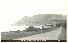 Lake City Minnesota~Hwy 61 Around lake Pepin~Car~Utility Poles~1950s RPPC
