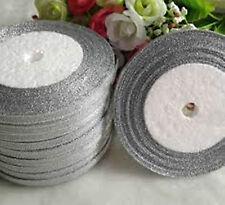 Organza 6mm Silver Glitter Ribbon Craft - 3 Rolls x 25 Yards each -Limited Offer