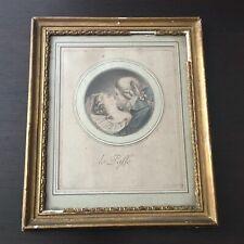 Engraving Antique The Past Kiss Framed Xixè - Etching 19thC