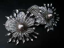 2 PC PEARL FLOWER CRYSTAL HAIR COMB SET - BRIDAL WEDDING EVENING DRESS