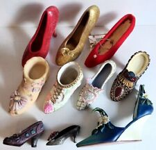 10 Miniature Dress High Heel Shoes Collectible Lot Resin Pewter Floral Jewel