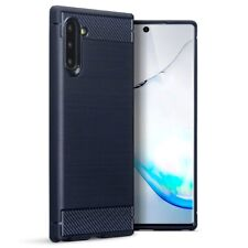 Samsung Galaxy Note 10 TPU Gel Silicone Rubber Case Carbon Fibre Design in Blue