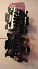 Back To School Special * Conair Jaw Clips~Hair Claw~ 2 black, 1 brown, 1 silver