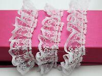 5 Meters White Ruffle Unilateral Lace Trim Ribbon 23mm Sewing Wedding Craft DIY