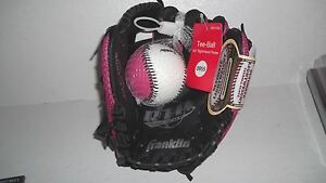 """Franklin 9.5"""" Right Hand Throw Tee-Ball Glove & Ball - Pink - #4007 - New"""