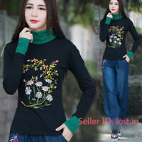 Womens Chinese Embroidery Cotton T-shirt Long Sleeve Stretchy Floral Tops Slim
