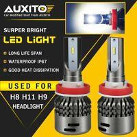 2X AUXITO LED H8 H11 H9 Headlight Bulb Low Beam 6000K 18000LM CSP Kit EA