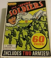 60 Retro Army Men 2 Armies Green and Tan Miniature Toy Soldiers Military plastic