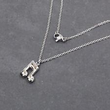 Moderne silberne Edelstahl Halskette mit Musiknote Anhänger