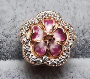 Pandora ROSE Charm 788079CZ Pink Sparkling Peach Blossom Flower S925 ALE