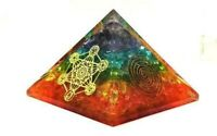 X-LG 70MM Orgone Seven Chakra Pyramid Healing Pyramid EMF Protection Organite