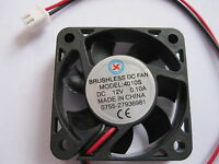 2 pcs Brushless DC Cooling Fan 4010S 7Blade 12V 2 Wire 40x40x10mm Sleeve Bearing