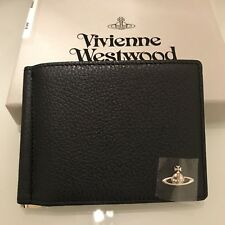Vivienne Westwood Mens Soft Leather Money Clip Bifold Wallet - Navy(Dark Blue)