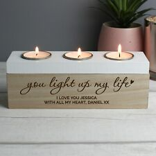 Personalised You Light Up My Life Homeware Wooden Triple Tea Light Candle Holder