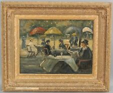 Antique LOUIS VAN DER POL Dutch Impressionist Outdoor Cafe Oil Painting NR