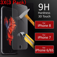 3Pcs Premium Real Screen Protect Tempered Glass Film For iPhone 8 7 6 6s Plus hi