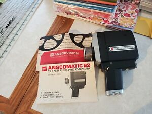 Vintage GAF Anscomatic 62 Super 8 Film Movie Camera with instructions