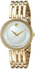Movado Women's 28mm Gold Tone Steel Bracelet Swiss Quartz Analog Watch 0607054