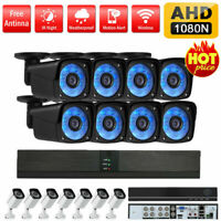8CH 1080P DVR AHD Outdoor CCTV Camera Security System Night Vision Weatherproof