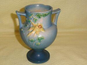 "Vintage Blue Roseville U.S.A. 150-6"" Double Handled Vase Yellow Flower 2 Chips"