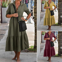ZANZEA Women Midi Dress Buttons V Neck Casual Long Sleeve Shirt Dress Plus Tops