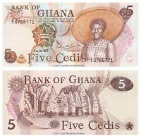 Ghana 5 Cedis 1977 P-15b Z/1 Prefix Banknotes UNC