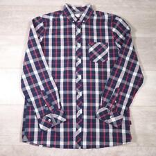 Men's MUSTANG Vintage Blue Red Checked Cotton Western Shirt Medium #E2964