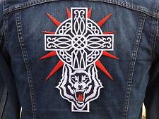 GRAND ECUSSON PATCH THERMOCOLLANT aufnaher toppa / CROIX METAL loup celtique