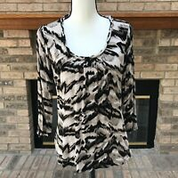 Dana Buchman Women's Blouse Size S Abstract Animal Stretch Top Shirt 3/4 Sleeve