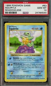 Pokemon Base Set Squirtle SHADOWLESS #63/102 Graded PSA 10 GEM MINT 1999 Game