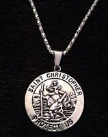"""Large Saint Christopher Necklace Pendant Silver St. of Travel Protection 24"""" *UK"""