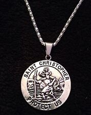 "Large Saint Christopher Necklace Pendant Silver St. of Travel Protection 24"" *UK"