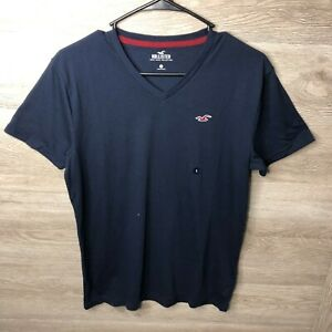 Hollister Mens Small Must Have Collection V Neck T Shirt Navy Blue NEW