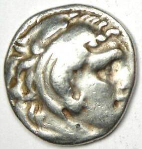 Ancient Alexander the Great AR Drachm Silver Coin 323 BC - Fine / VF Condition
