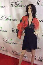 New Venus Women's 10 Medium Red Black Floral Silk Backless Kimono Sun Dress M