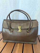 GUCCI Authentic Brown Leather Satchel Made in Italy