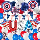Patriotic Decorations American Flag Party Supplies with USA Foil Balloons, Red