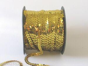 5 metre length x 10mm Strung Metallic Flat Sequins: Gold