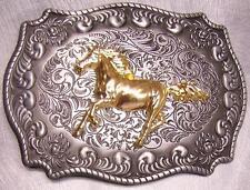 Pewter Belt Buckle Trotting Horse 2 tone NEW