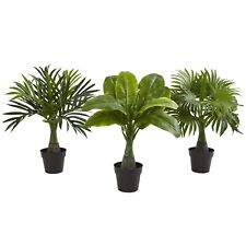 Nearly Natural Artificial Areca Fountain & Banana Palm Small Trees Set of 3 NEW