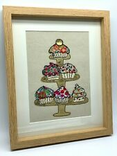 More details for original framed textile art cupcakes with liberty of london tana lawn on calico
