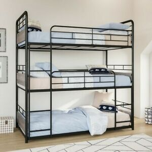 triple bunk bedsMetal Frame and Rustic Gray Accents