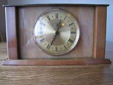 Working Vintage Mantle Clock 70's Metamec Quartz Onyx Brass Wood VGC For Age